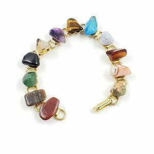 Vtg Natural Stone Lapidary Bracelet